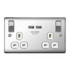 BG NBS22UG Brushed Steel Double Switched Socket with USB Outlets