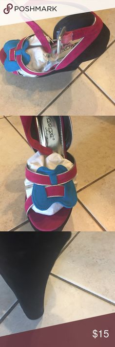 Fashion wedge 7 in with 3 in platform very sassy and sexy. Fashion forward platform heel. Multi color. Shoes Platforms