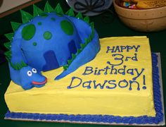 Dinosaur birthday cake - The dinosaur was made in half of the wilton sports ball pan and he is covvered in fondant. The spikes are made of fondant and stuck into the dinorsaur using bamboo skewers. The head, neck and tail of the dinosaur are molded out of candy clay and covered with fondant.