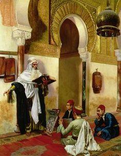"""The lesson"". Rudolph Ernst (1854 - 1932), Austrian painter."