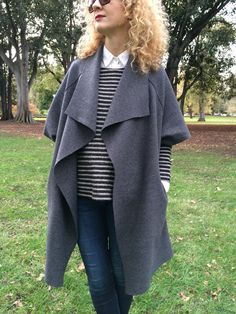 Sydney Jacket Pattern – This oversized, draped jacket features a relaxed collar, back y...