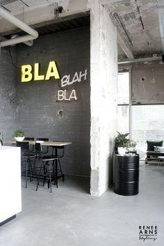 Kitchen. Chalk. Neon. Wall. Concrete. Home. Industrial. Design. #Interior | caferacerpasion. Com