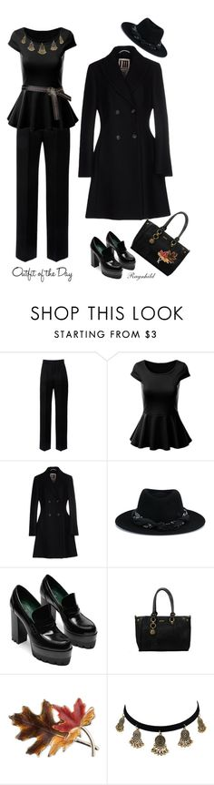 """Black Outfit of the Day"" by ragnh-mjos ❤ liked on Polyvore featuring Lanvin, I'm Isola Marras, Maison Michel, Anne Klein and Petit Bateau"