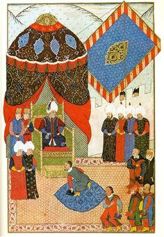 Meeting of Caliph Suleyman the Law Giver/the Magnificent & King John II (Zápolya/Szapolyai János Zsigmond) of Hungary in Zimony (1566 CE) (Süleymanname (ca. 16th Century CE Ottoman Miniature Painting) -Matrakçı Nasuh)