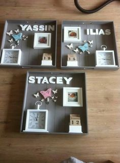 Baby Crafts, Diy And Crafts, Family Wall Decor, Baby Frame, Creation Deco, Baby Memories, Baby Album, Baby Keepsake, Box Frames