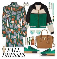 """""""Fall Fashion: Dresses"""" by ellie366 ❤ liked on Polyvore featuring Victoria, Victoria Beckham, P.E Nation, Miu Miu, MICHAEL Michael Kors, Michael Kors, NYX, L.A. Girl, Clive Christian, Terre Mère and By Terry"""
