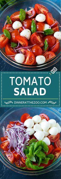 Tomato Salad Recipe - Dinner at the Zoo Tomato Basil Salad, Tomato Salad Recipes, Creamy Cucumber Salad, Best Salad Recipes, Summer Salad Recipes, Salad Dressing Recipes, Summer Salads, Healthy Recipes, Spinach Salad