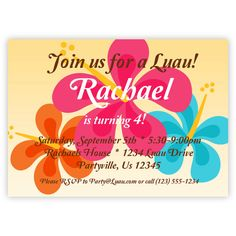 Luau Party Invitation  Pink Orange and Turquiose by PurpleBerryInk, $15.00