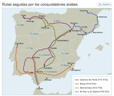 Rutas seguidas por los árabes en la conquista de Al-Ándalus Iberian Peninsula, Physical Properties, Earth Surface, Historical Maps, Idioms, World History, Middle Ages, Andalusia, Portion