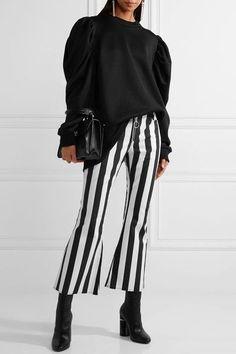 Marques' Almeida - Cropped Striped Cotton-poplin Flared Pants - Black - UK