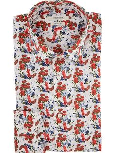 Delsiena men's floral printed shirt with classic collar