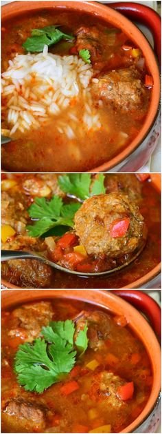 Mexican Meatball Soup | from willcookforsmiles.com #dinner #soup #spicy