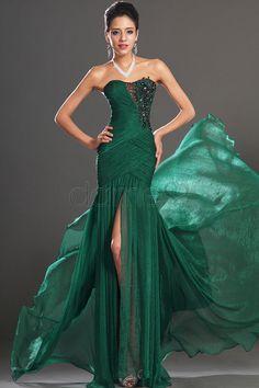 Geteilte Front Rrganza Perlen Meerjungfrau bodenlanges trägerloses ärmelloses Ball/ Abendkleid