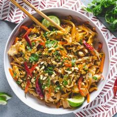 Throw away those takeout menus this Easy Spicy Chicken Pad Thai will be your new favorite dinner thats quicker than delivery! Asian Recipes, New Recipes, Whole Food Recipes, Dinner Recipes, Cooking Recipes, Ethnic Recipes, Oriental Recipes, Cooking Dishes, Dinner Ideas