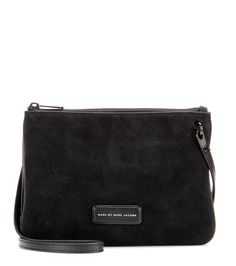 Double Percy black leather and suede shoulder bag