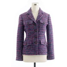 Multicolor Tweed Jacket ($200) ❤ liked on Polyvore featuring outerwear, jackets, purple blazer jacket, short-sleeve blazers, one-button blazer, j crew jacket and flap jacket