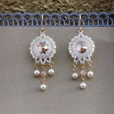 Pearl Chandelier  bridal Earrings, Unique Handmade beaded with swarovski elements, Miyuky beads and goldfilled 14k