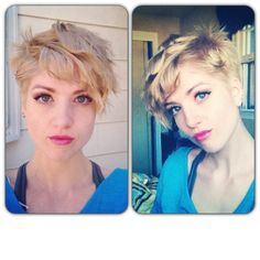 Curly blonde asymmetrical pixie, shaved side with undercut.