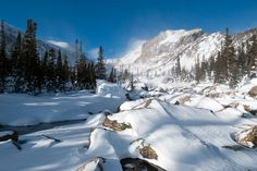 mountain, forest with pine trees, stream, white snow and blue sky. Mountain Landscape, Winter Landscape, Colorado Mountains, Rocky Mountains, Snow Valley, Snow Mountain, Mountain High, Rocky Mountain National Park, Winter Scenes