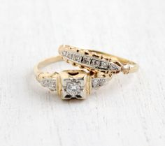 $425 - Just lovely - if I were in of a wedding set :)  Antique 14k Yellow & White Gold Diamond Engagement Ring and Wedding Band Set