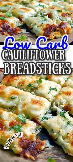 Cauliflower Breadsticks, Cauliflower Recipes, Vegetable Recipes, Chicken Recipes, Cauliflower Pizza, Veggie Food, Bariatric Recipes, Low Carb Recipes, Vegetarian Recipes