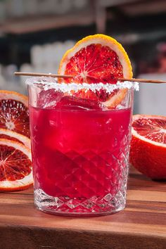 Red, Red Rita 1 part Sauza Signature Blue Silver Tequila  1 part blood orange juice  1/2 part lime juice  1/2 part simple syrup  1 blood orange wheel