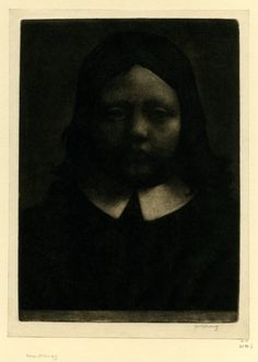 William Strang,The Young Puritan 1885. mezzotint  via shinyslingback
