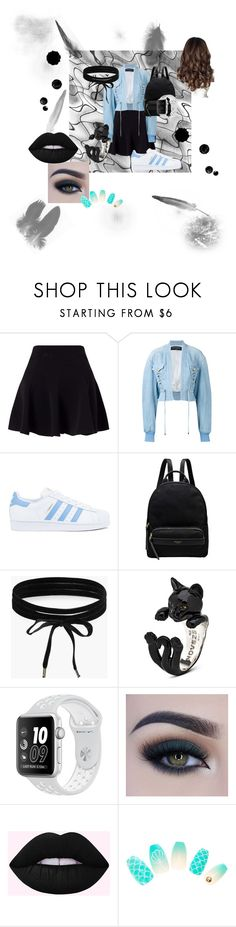 """Outfit two"" by toothlessdobblexdub ❤ liked on Polyvore featuring Miss Selfridge, Balmain, adidas, Radley, Boohoo, NIKE and Too Faced Cosmetics"