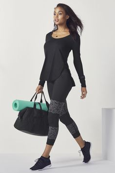From daytime to workout drills, a soft tunic tee and seamless jacquard yoga tights have you covered. | Fabletics Eleana Outfit