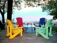 Ordinaire Colorful Chairs | Colorful Recycled Plastic Adirondack Chairs On Deck