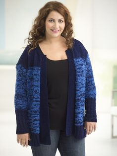 Curvy Girl Subtle Texture Cardigan. Knit this flattering plus size cardi with 6 balls of Vanna's Glamour and 5 balls of Modern Baby! Pattern calls for size 4 (3.5 mm) and 5 (3.75 mm) knitting needles.