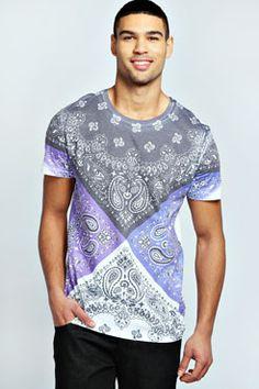 Coloured Paisley T Shirt at boohoo.com