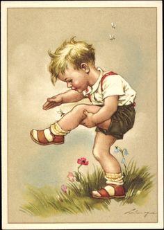 Künstler Ak Lingen, Mücke sticht Kind, Blumen