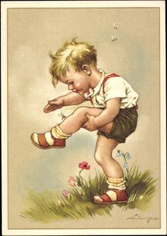 Artist Postcard Lingen, Mücke sticht Kind, Blumen(it`s dangerous to do that these days.whatch out for zika! Clip Art Vintage, Vintage Book Covers, Vintage Drawing, Vintage Artwork, Vintage Cards, Vintage Prints, Old Illustrations, Vintage Illustration, Vintage Boys