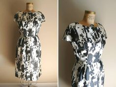 Vintage 1950s Splatter Pattern Black and White dress