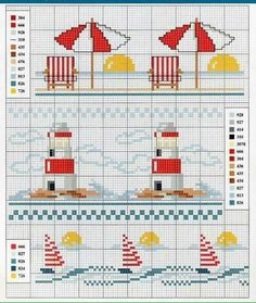 Faro e ombrelloni a punto croce Cross Stitch Sea, Cross Stitch Bookmarks, Cross Stitch Borders, Cross Stitch Kits, Cross Stitch Designs, Cross Stitching, Cross Stitch Embroidery, Embroidery Patterns, Cross Stitch Patterns