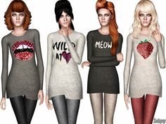 Soft knit graphic jumpers by zodapop - Sims 3 Downloads CC Caboodle