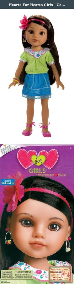 Hearts For Hearts Girls - Consuelo from Mexico. Capture the colorful warmth of Mexico with our Consuelo doll! Like all Hearts For Hearts Girls dolls, Consuelo stands 14 inches high and has a poseable, smooth vinyl body, and high-quality rooted hair for hours of doll play. Her hair is a waist-length fall of shining black and her eyes are deep brown with copper highlights. Consuelo is dressed in a ruffled, lace-trimmed turquoise skirt and a lime-green blouse with lively floral embroidery on...
