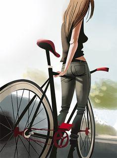 Fixie Illustrations by Thorsten Hasenkamm - Inspiration Grid Bicycle Illustration, Illustration Art, Character Illustration, Tachisme, Velo Vintage, Vintage Bicycles, Radler, Bike Poster, Bicycle Art