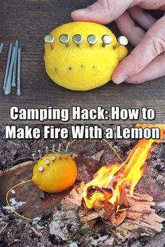 How to Make Fire With a Lemon – Fact or Fiction? Let's See Camping Hack: How to Make Fire With a Lemon (Fact or Fiction?) – I thought this was a pretty clever, although not terribly practical idea. While you may not have these types of items lying around Camping Survival, Camping Hacks, Homestead Survival, Wilderness Survival, Outdoor Survival, Survival Prepping, Emergency Preparedness, Survival Gear, Survival Skills