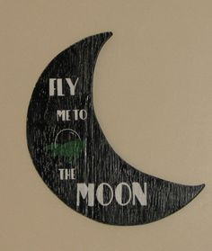 Fly Me To the Moon, Distressed Crescent Moon, Rustic, Kitsch Hanging Moon by…