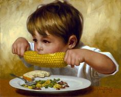 """""""Corn Fed""""- will never forget the day when our grandson as a toddler diligently watched his grandfather butter a piece of corn- and quietly slipped it off off his grandfather's plate into his own mouth devouring it with butter running down his chin smiling the entire time!"""