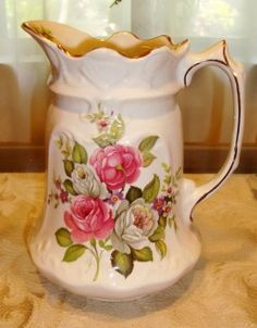 "James Kent Staffordshire Old Foley pitcher in the ""Harmony Rose"" pattern, made in England, from Pretty Vintage Things by Martha's Favorites."