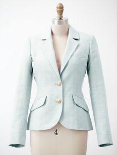 mint linen blazer   two penny blue