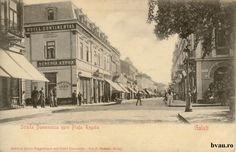 "Strada Domnească spre Piaţa Regală, Galati, Romania, anul 1900, fotograf J. Maksay.  Imagine din colecţiile Bibliotecii Judeţene ""V.A. Urechia"" Galaţi. Wwii, Street View, Country, Places, Painting, Shelf, World War Ii, Rural Area, Painting Art"