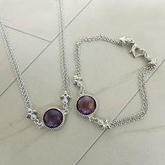 Euphoria Sterling Silver Multi-Strand Amethyst Necklace & Bracelet