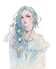 Cute and pretty Moldau from Cerrea. A bit romantic, a bit kind. Chibi Manga, Manga Anime, Manga Art, Art And Illustration, Watercolor Illustration, Watercolor Art, Character Art, Character Design, Drawn Art