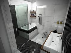 Small Black And White Bathroom http://hative.com/small-bathroom-design-ideas-100-pictures/
