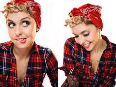 Rockabilly bandana for short hair. (Doing this immediately.)