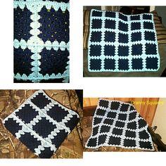 Granny square crochet baby blanket 'I Love This Yarn'  Navy blue/ Soft blue